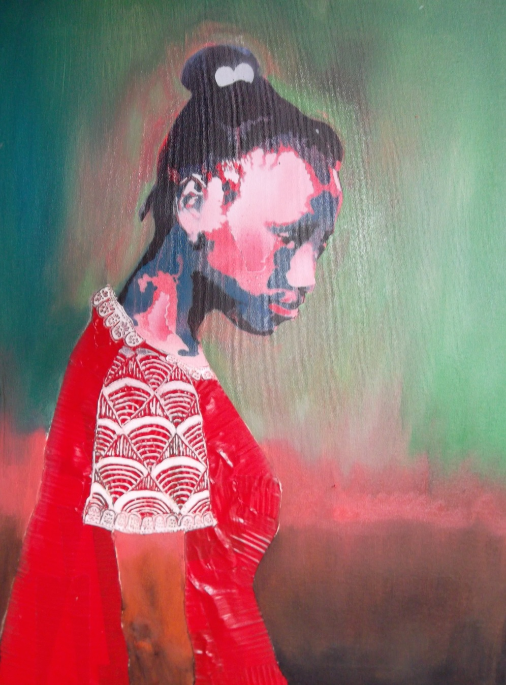"""Girl in Red Dress - Mixed Media, 18""""x24"""" - 2014"""